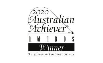 Award Seal; Australian Achiever Awards 2020 Excellence in Customer Service