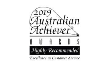 Award Seal; Australian Achiever Awards 2019 Excellence in Customer Service