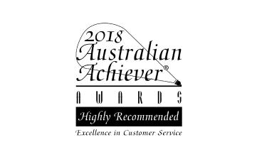 Award Seal; Australian Achiever Awards 2018 Excellence in Customer Service