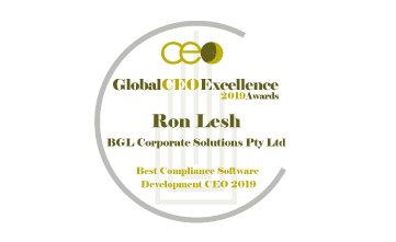 Award Seal; Global CEO Excellence Awards 2019 Best Compliance Software Development CEO; Ron Lesh, BGL Founder and Managing Director.