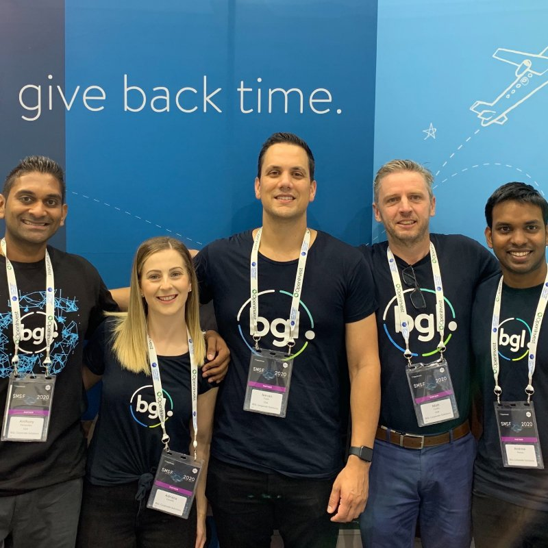 BGL Team Photo. Left to right; Anthony Fernandez, Adriana Cavallo, Jeevan Tokhi, Matt Crofts, Andrew Perera.